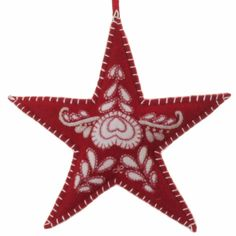 Red Romany Tree Star - Jan Constantine Christmas Tree Star, Felt Christmas, Christmas Time, Christmas Ornaments, Christmas Ideas, Hand Embroidery, Sweet Home, Crafty, Stars