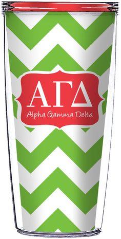 Tumbler - Alpha Gamma Delta Green Chevron-