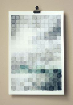 Watercolor pixels painting by Wit & Whistle. Art class?