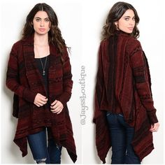 "Burgundy/Black Warm Cardigan Fabric Content: 69% ACRYLIC 26% COTTON 5% POLYESTER Size : S/M & L/XL Description: L: 24"" B: 21"" W: 24"" Sweaters Cardigans"