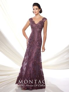 Lace over taffeta fit and flare dress with cap sleeves, scalloped front and back V-necklines, suitable for the mother of the bride or the mother of the groom. Matching shawl included. Embellish by David Tutera earring Taylor sold separately. Sizes: 4 – 20 Colors: Bronze, Plum, Wedgwood, Wine