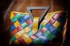 Multicolored Handmade Handbag, Summer Genuine Leather Women's Bag, Wood Handle Lady's Purse