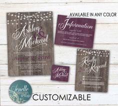 Purple Rustic Wedding Invitations  Plum by JENELLEdesignSHOP