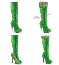 Knee high costume Boots! GREEN sparkly glitter eve Adam or poison IVY high heel boots shoes Custom Made stilettos by CrystalCleatss on Etsy $10 off with Coupon Code: PINNED10