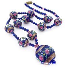 Vintage Edwardian Blue Fancy Rose Glass Bead Drop Lapis Necklace | Clarice Jewellery | Vintage Costume Jewellery