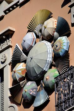 umbrellas on the wall in Barcelona (Catalunya - Catalonia) SPAIN Umbrella Art, Under My Umbrella, Umbrella Shop, Madrid, Gaudi, Begur Costa Brava, Art Nouveau, Barcelona Catalonia, Parasols