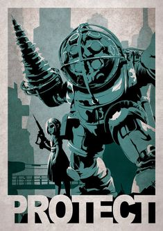Video Game Poster Series by Alex Ramallo - Bioshock Video Game Posters, Video Game Art, Video Games, Bioshock Game, Bioshock Series, Deco Gamer, Gaming Posters, Nerd Art, Poster Series