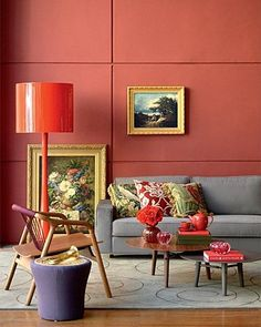 Just beautiful - colour clashing looks stunning in this living room featuring Pantone's Living Coral Coral Living Rooms, Coral Bedroom, Living Room Color Schemes, Bedroom Decor, Interior Rugs, Home Interior Design, Foyers, Coral Colour Palette, Coral Home Decor