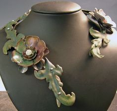 Necklace   Louise Leap. 'Victoria' Vitreous enamel over hand forged copper, Fine silver and Nugold base.