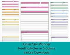 meeting notes template, download and print as many copies as you want.  printable pages for your half size or arc junior discbound planner.