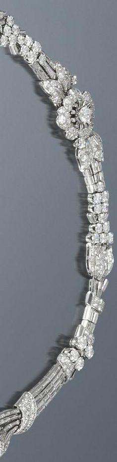 Detail: Art Deco diamond tiara/necklace/bracelet, circa 1935. Almost 39 carats of diamonds wearable in 3 different ways.