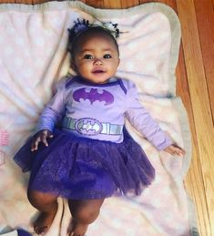 Anna Sophia Grace (Annie) - 8 months ❤ Gorgeous baby girl rocking a purple Batman dress (2 May 2017)