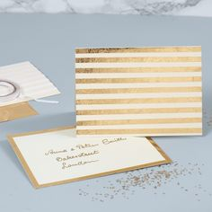A pearlescent Greeting Card decorated with gold Deco Foil Stripes Et pearlescent lykønskningskort de Deco Foil, Gold Pen, Leather Cord, Invitation Cards, Birthday Invitations, Adhesive, Card Making, Greeting Cards, Place Card Holders