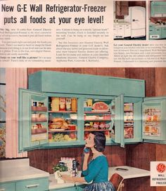 1950's wall refrigerator - why have I never seen one of these wonderful inventions? I want one!