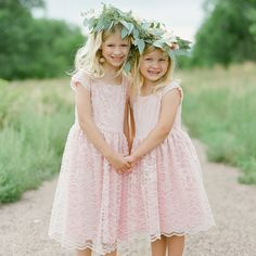 Blush flower girl looks with flower and eucalyptus leaf crowns | Laura Murray Photography | Bare Root Flora | www.theknot.com