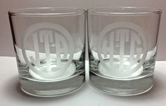 Etched Monogrammed Whiskey Glass by Pottergentrydesigns on Etsy, $12.50