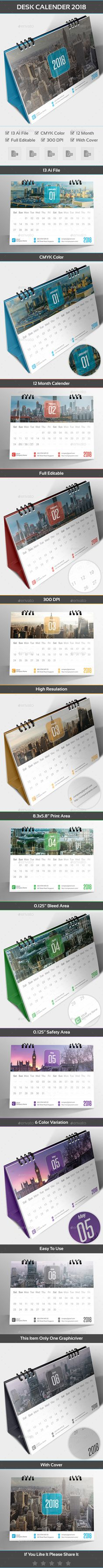 Desk Calender 2018 Template Vector EPS, AI Illustrator
