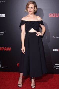 Rachel McAdams in an off-the-shoulder cutout Self-Portrait dress at the Southpaw premiere | July 24, 2015