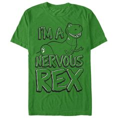 Rex is always worried about not being scary enough on the Toy Story Nervous Rex Kelly Green T-Shirt. The sweetest dinosaur around shows off his smile on this green Toy Story shirt that reads Im A Nervous Rex down the front.   Buy at https://www.sunfrog.com/Nervous-Rex.html