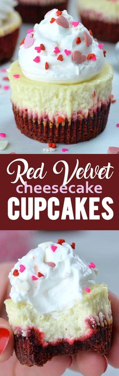 Red Velvet Cheesecake Cupcakes - - Red Velvet Cheesecake Cupcakes are a perfect Valentine's Day treat that will satisfy anyone's sweet tooth, and they're absolutely adorable, too! A delicious combo of smooth cheesecake on top of red velvet crust. Köstliche Desserts, Delicious Desserts, Dessert Recipes, Health Desserts, Chocolate Cupcakes, Chocolate Desserts, Chocolate Chips, Red Velvet Cheesecake Cupcakes, Cheesecake Cake