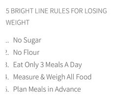 Bright Line Eating Rules