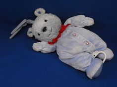 New product 'Carters Child of Mine Blue Bear Baseball BRAHMS' added to Dirty Butter Plush Animal Shoppe! - $20.00 - Carters CHILD OF MINE Plush Stuffed Blue Chenille Teddy Bear Blue Velour Sleeper Embroidered Baseball Buttons Red Grosgr…