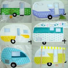 Take a trip with these groovy Retro Campers in applique from SewAZ Embroidery.