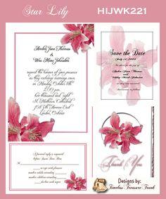 Star Gazer Lily Wedding Invitations