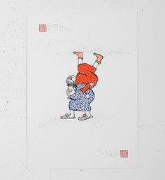"""Entitled """"Les scarabées"""", this 1-color screen print is enhanced by hand by Ella & Pitr. It's an edition of 15. After printing, the artists paint over each copies, creating unique works of art. Made in 2015, it is signed and numbered by the artists. Format : 13,7 x 19,7 inches (35 x 50 cm). The work is sold unframed."""