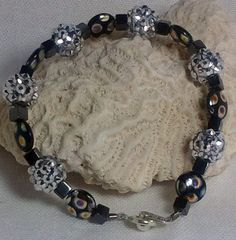 Silver Bling Ball Bracelet with Black Glass by DesignsByJuneBug, $30.00