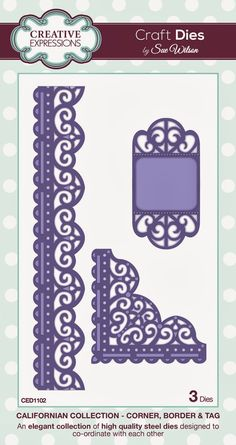 """Corner, Border & Tag ~ California Collection CED1102 -- 3 craft dies. Length of Border die: 200mm approx. (7.87"""")"""