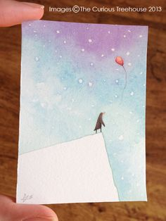 Letting go penguin Aceo original OOAK by thecurioustreehouse, £6.00