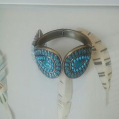 Boho Turquoise hinge bracelet Turquoise enamel on antique brass color hinged bracelet. Substantial feel. Jewelry Bracelets