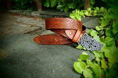 celtic knot belt leather brown belt viking belt