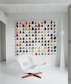 Colorful wall decor in Douglas Coupland's mid-century modern house.