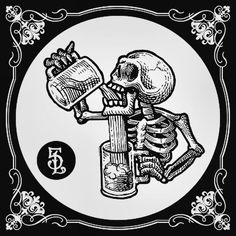 skeleton tries to drink illustration - Top 500 Best Tattoo Ideas And Designs For Men and Women Graffiti, Neue Tattoos, Geniale Tattoos, Skull And Bones, Skull Art, Stencils, Art Drawings, Tattoo Designs, Illustration Art