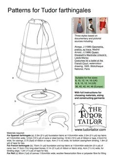 Shop | The Tudor Tailor | Pattern for Tudor and Elizabethan Farthingales - Small Sizes