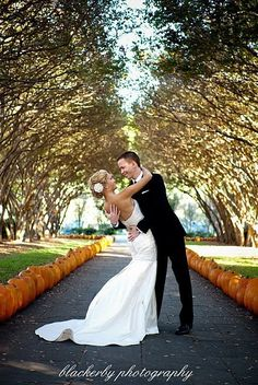 Cute way to line the path into a Fall wedding along with some hay bales and it would be perfect!