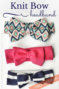 Bow Headband Tutorial Using Knit Fabric | Sew Not Perfect