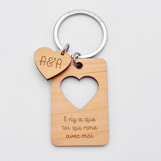 """Mini porte-clés coeur rouge /""""I love you/"""" Petit porte-clefs en bois Je t/'aime"""