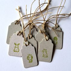 10 upcycled gift tags Handstamped upcycled by papelmagico on Etsy