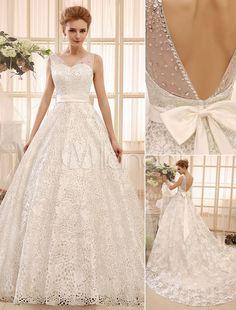 Chapel Train Ivory A-line Bow Satin Bridal Wedding Gown with V-Neck - Milanoo.com