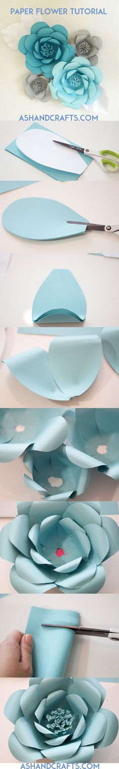 Paper Flower Tutorial pretty paper craft projects. Perfect for wedding, gifts or home decorations.