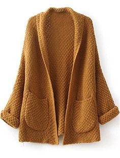 Sheinside®nCamel Long Sleeve Pockets Knit Loose Cardigan
