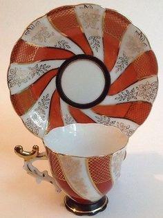 Vtg Japan Opalescent Luster Demitasse Tea Cup Saucer Red White Gold
