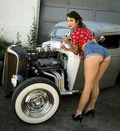 On motorcycles rat hot rod girls
