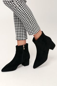 cdd40d2e05797 Sofia Black Suede Pointed Toe Ankle Booties