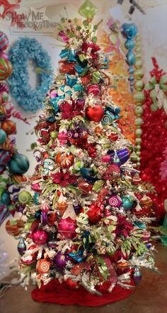 Christmas Tree for 2014 - Christmas Confection is sweet on the Holidays with Candy and Lollipops in #Turquoise, #HotPink, #Red, #LimeGreen, and #Purple.