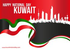 Illustration about Happy National Day Kuwait - Flag And City Silhouette Skyline Horizontal Poster. Illustration of blank, illustration, city - 83795017 Kuwait National Day, Martyrs' Day, Happy National Day, Patron Saints, Royalty Free Stock Photos, Flag, Skyline, Clip Art, Silhouette
