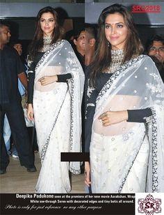 81b2067de92314 Bollywood Replica Exclusive Deepika Padukone Net Sari SRQ2018 Karwa Chauth  Gifts : http://
